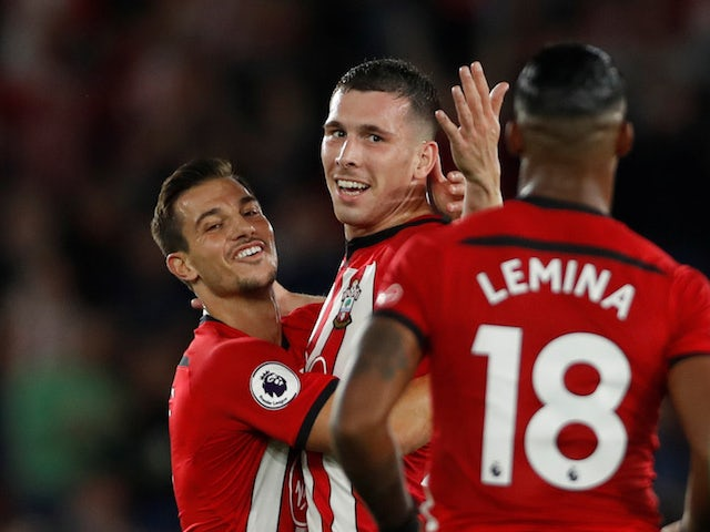 Pierre-Emile Hojbjerg celebrates scoring during the Premier League game between Southampton and Brighton & Hove Albion on September 17, 2018