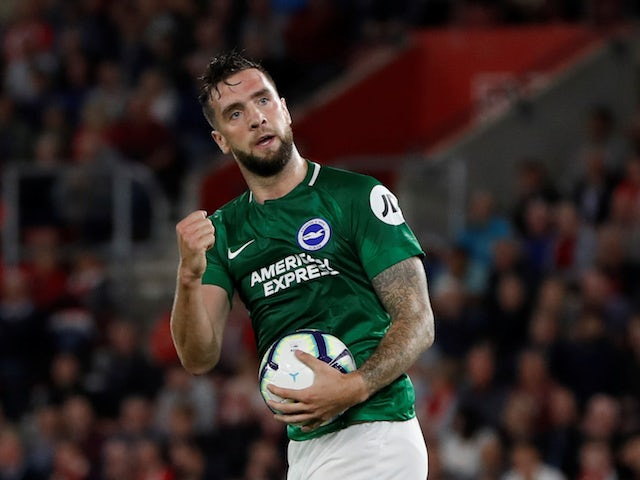 Shane Duffy celebrates pulling one back during the Premier League game between Southampton and Brighton & Hove Albion on September 17, 2018
