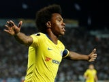 Willian celebrates his opener during the Europa League group game between PAOK and Chelsea on September 20, 2018