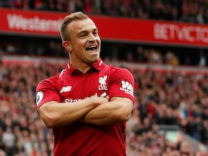 Xherdan Shaqiri celebrates during the Premier League game between Liverpool and Southampton on September 22, 2018