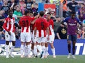 Athletic Bilbao celebrate opening the scoring against Barcelona on September 29, 2018
