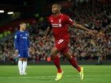 Liverpool striker Daniel Sturridge celebrates scoring during his side's EFL Cup clash with Chelsea on September 26, 2018