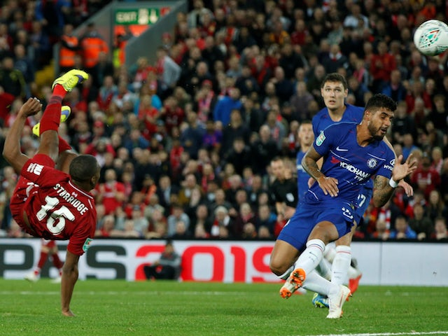 Liverpool striker Daniel Sturridge scores during his side's EFL Cup clash with Chelsea on September 26, 2018