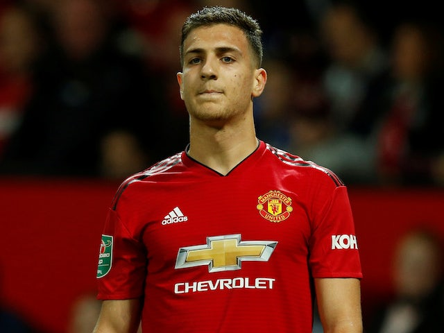 Diogo Dalot in action during the EFL Cup third-round game between Manchester United and Derby County on September 25, 2018