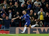 Chelsea winger Eden Hazard celebrates scoring against Liverpool in their EFL Cup clash on September 26, 2018