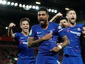 Chelsea's Emerson Palmieri celebrates scoring against Liverpool in their EFL Cup clash on September 26, 2018