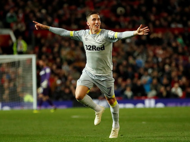 Harry Wilson celebrates his equaliser during the EFL Cup third-round game between Manchester United and Derby County on September 25, 2018