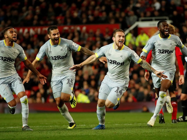 Jack Marriott celebrates scoring late on during the EFL Cup third-round game between Manchester United and Derby County on September 25, 2018