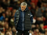 Jose Mourinho looking downbeat during the EFL Cup third-round game between Manchester United and Derby County on September 25, 2018