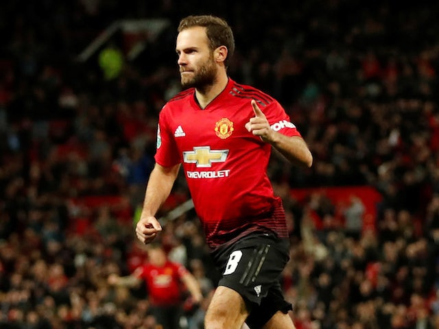 Juan Mata celebrates scoring during the EFL Cup third-round game between Manchester United and Derby County on September 25, 2018