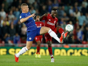 Ross Barkley in action with Naby Keita during the EFL Cup clash between Chelsea and Liverpool on September 26, 2018