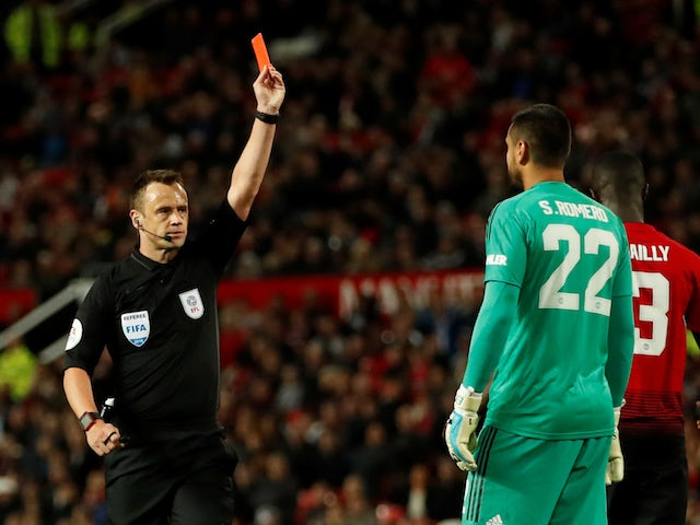 Sergio Romero sees red during the EFL Cup third-round game between Manchester United and Derby County on September 25, 2018
