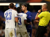 Alvaro Morata clashes with Roland Juhasz and Paulo Vinicius during Chelsea's Europa League tie with Videoton on October 4, 2018