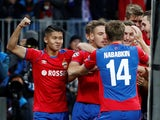CSKA Moscow players celebrate after opening the scoring against Real Madrid in their Champions League clash on October 2, 2018