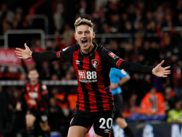 David Brooks celebrates opening the scoring during the Premier League game between Bournemouth and Crystal Palace on October 1, 2018
