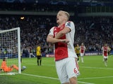 Ajax midfielder Donny van de Beek celebrates scoring against AEK Athens in a Champions League match in September 2018
