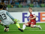 Emile Smith Rowe scores for Arsenal against Qarabag FK in the Europa League.