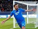 Hoffenheim forward Ishak Belfodil celebrates opening the scoring in his side's Champions League clash with Manchester City on October 2, 2018