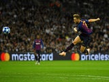 Barcelona midfielder Ivan Rakitic scores his side's second goal against Tottenham Hotspur on October 3, 2018