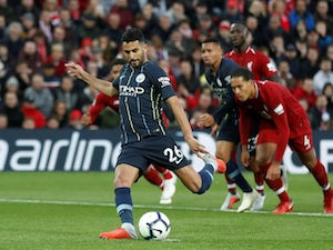 Riyad Mahrez steps up to take a late penalty in Manchester City's away draw at Liverpool in the Premier League on October 7, 2018