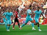 Newcastle United striker Yoshinori Muto celebrates after scoring against Manchester United on October 6, 2018