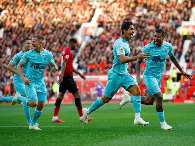 Newcastle United striker Yoshinori Muto celebrates after scoring against Manchester United on October 6, 2018