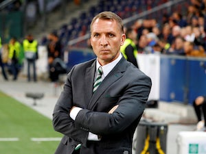 An intense-looking Brendan Rodgers in charge of Celtic on October 4, 2018