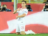Krzysztof Piatek celebrates scoring for Poland on October 11, 2018