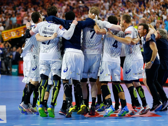 Montpellier handball team celebrating winning EHF Champions League in May 2018.