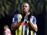 Usain Bolt in action for Central Coast Mariners on August 31, 2018