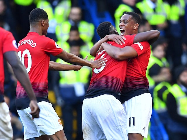 Manchester United's Anthony Martial celebrates scoring against Chelsea on October 20, 2018