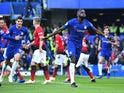 Chelsea defender Antonio Rudiger celebrates scoring the opening goal during his side's Premier League clash with Manchester United on October 20, 2018