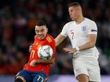 Iago Aspas and Ross Barkley in action during the Nations League game between Spain and England on October 15, 2018