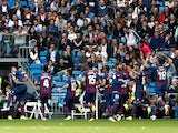Levante players celebrate scoring against Real Madrid on October 20, 2018