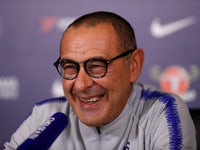 Chelsea manager Maurizio Sarri has a laugh during his presser on October 19, 2018