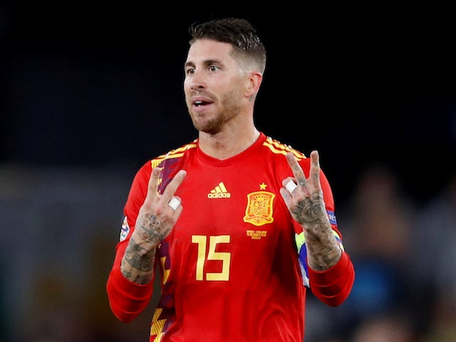 Sergio Ramos reacts during the Nations League game between Spain and England on October 15, 2018