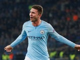 Aymeric Laporte celebrates the second during the Champions League group game between Shakhtar Donetsk and Manchester City on October 23, 2018