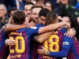 Barcelona players celebrate Luis Suarez's goal in El Clasico against Real Madrid on October 28, 2018