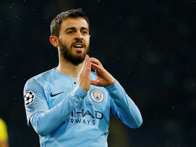 Bernardo Silva celebrates the third during the Champions League group game between Shakhtar Donetsk and Manchester City on October 23, 2018