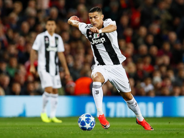 Cristiano Ronaldo in action during the Champions League group game between Manchester United and Juventus on October 23, 2018