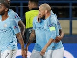 David Silva celebrates his opener during the Champions League group game between Shakhtar Donetsk and Manchester City on October 23, 2018