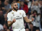 Karim Benzema celebrates scoring during the Champions League group game between Real Madrid and Viktoria Plzen on October 23, 2018