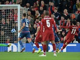 Mohamed Salah scores the second during the Champions League game between Liverpool and Red Star on October 24, 2018