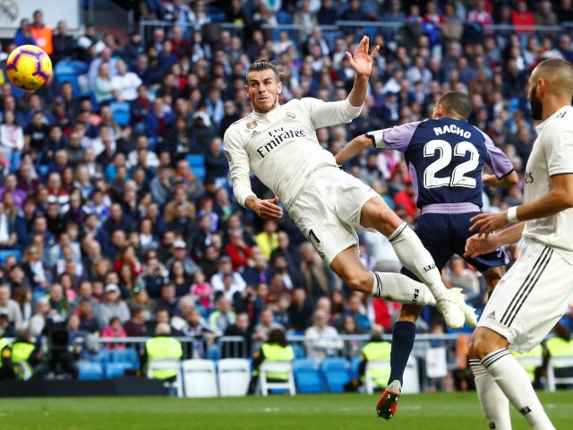 Gareth Bale directs a header on target during Real Madrid's La Liga clash with Real Valladolid on November 3, 2018
