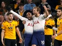Lucas Moura celebrates with Harry Kane after scoring Tottenham Hotspur's second goal against Wolverhampton Wanderers on November 3, 2018