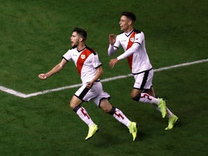 Jose Pozo celebrates after scoring for Rayo Vallecano against Barcelona on November 3, 2018