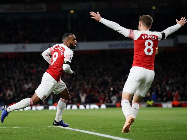 Arsenal striker Alexandre Lacazette celebrates scoring against Liverpool on November 3, 2018