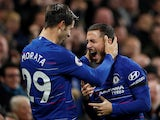 Alvaro Morata and Eden Hazard celebrate during the Premier League game between Chelsea and Crystal Palace on November 4, 2018