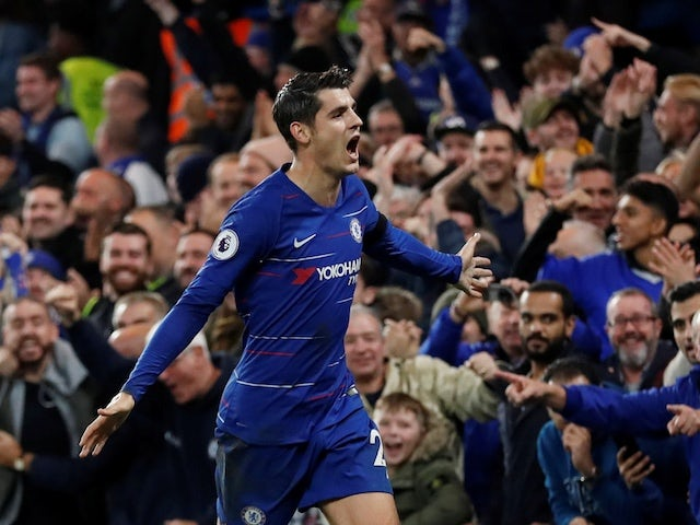 Chelsea striker Alvaro Morata celebrates scoring the opening during his side's Premier League clash with Crystal Palace on November 4, 2018