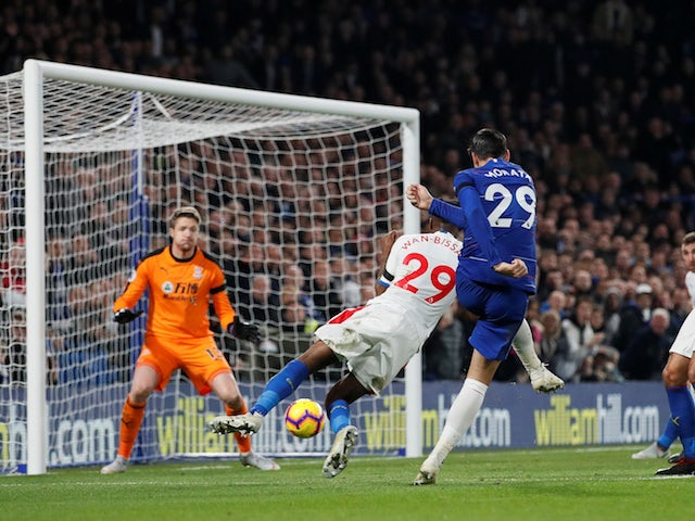 Alvaro Morata gets his second during the Premier League game between Chelsea and Crystal Palace on November 4, 2018